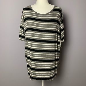 NWT Lularoe Gray and Black Striped Tunic